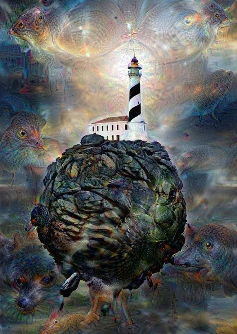Deep Dream Without Gravity - Lighthouses Rock! Original image by Christian Olivares